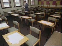 Exam papers on desks in an exam hall