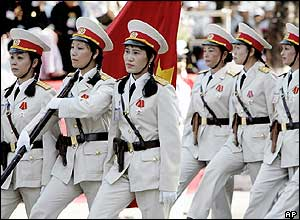 Women soldiers on parade in Ho Chi Minh City