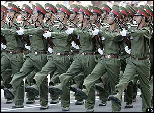 Vietnamese soldiers on parade in Ho Chi Minh City