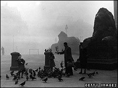 Trafalgar Square in the smog