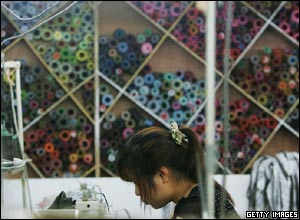 A Chinese labourer works at a garment factory in Shenzhen, China.