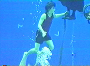 Harry takes to the water for a Tri-Wizard scene