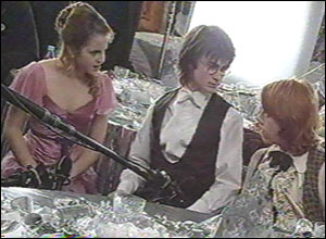 Hermione, Harry and Ron chat at the Yule Ball