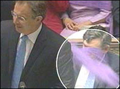 Tony Blair with circle drawn to highlight purple powder