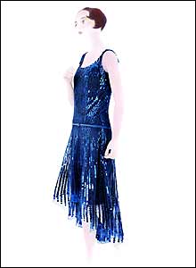 Blue silk evening dress (1927-1928)