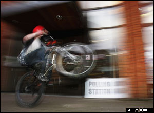 A youth performs a trick on his BMX outside a polling station in Surrey.