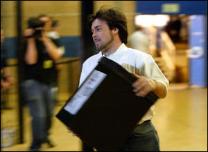 A ballot box is rushed into the Sunderland South count