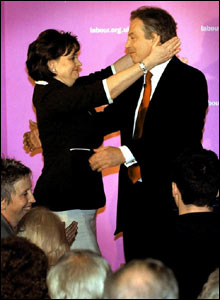 Tony Blair after being re-elected as MP for Sedgefield with his wife Cherie