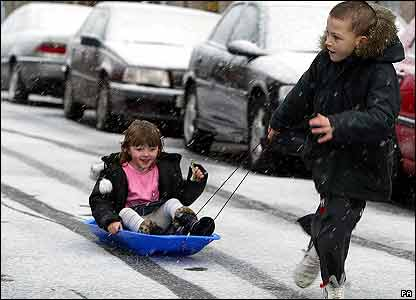 Kids playing in snow