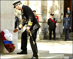 Prince Charles lays a wreath at the Cenotaph in London during commemorations.