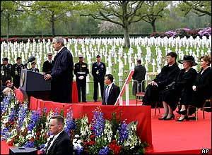 US President George W Bush led commemorations at the US military cemetery in the Netherlands, where 8,000 American servicemen are buried.