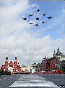 Russian military jets fly over Red Square in Moscow during the parade
