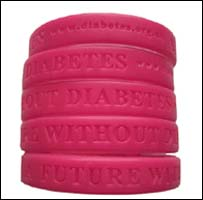 Magenta bands for Diabetes UK (pic courtesy of Diabetes UK)