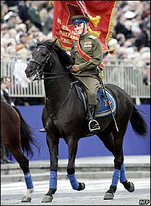 Cavalryman in Soviet wartime uniform on Red Square