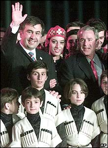 Georgian President Mikhail Saakashvili, left, and US President George Bush, right