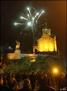 A firework display in front of Metekhi church in Tbilisi