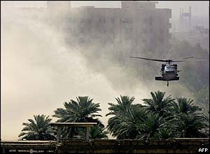 A US Black Hawk helicopter attempts to land in Baghdad's Green Zone.