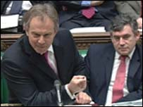 British Prime Minister Tony Blair debates in the House of Commons