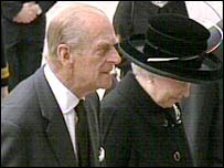 The Queen and Prince Philip arriving for the service