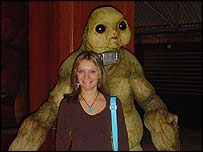 The Slitheen with Newsround's Clare Youell