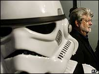 Directors George Lucas with a stormtrooper