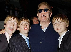 (l-r) James Lomas, George Maguire, Elton John and Liam Mower