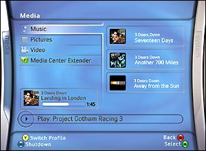Screenshot of 350 media screen