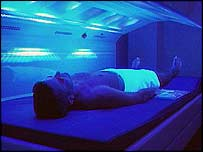 Person using a sunbed