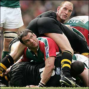 Lawrence Dallaglio and Martin Johnson in the thick of it