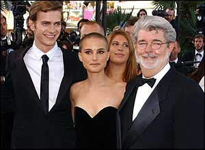Hayden Christensen, Natalie Portman and George Lucas