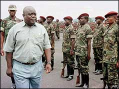 Laurent Kabila inspects the army