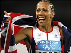 Kelly Holmes after winning the 1500m