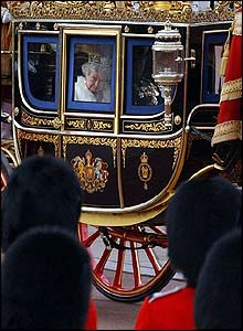 The Queen in the Royal carriage