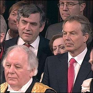 Tony Blair and Gordon Brown listen to the Queen's Speech