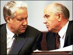 Boris Yeltsin (left) and Mikhail Gorbachev