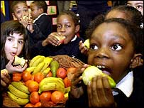 Children eating healthy fruit