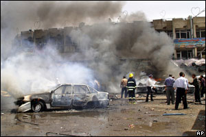 Cars ablaze following bombing