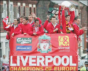 Liverpool's players on the parade bus