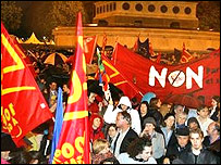 People celebrate the 'no' vote in Paris