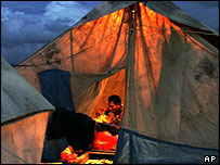 Man living in tent in Banda Aceh