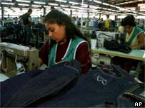 Workers in Nicaragua sewing jeans