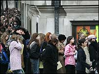 Girls queue at the Luna Lovegood casting