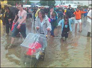 Festival crowds in floods