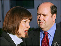 Judith Miller and Matthew Cooper outside a Washington court in December 2004