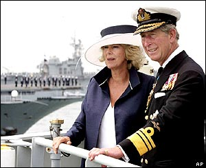 Prince Charles and the Duchess of Cornwall aboard the survey ship HMS Scott