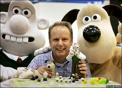 Nick Park with Wallace and Gromit models