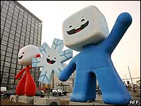 The Olympic mascots for Turin