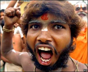 Sadhu or holy man protesting in Ayodhya