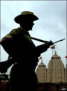 Soldier standing guard at Lord Jaggannath Temple  in Ahmedabad