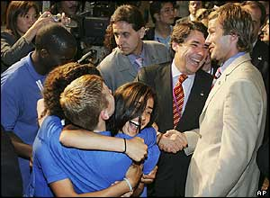 British children who were lucky enough to be at the announcement in Singapore hugged as David Beckham was congratulated